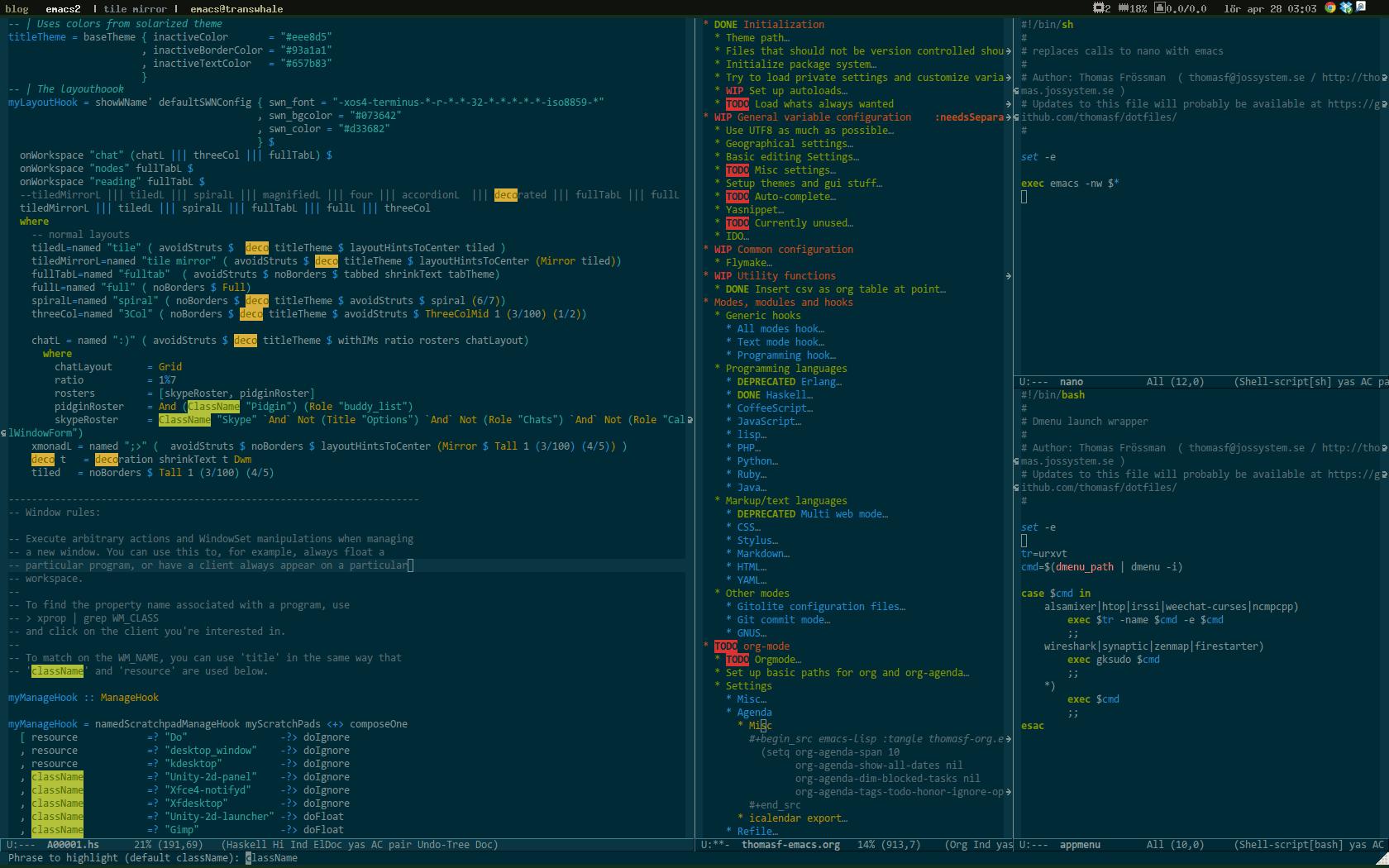 Emacs light and dark theme - datamaskinen